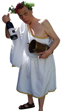 <div class='curved_float' style='background-color:white;padding:10px;width:212px'><div class='paragraph_black' style='font-size:16px;font-weight: bold'>Bacchus, Roman God of Wine & Party Times</div><div class='paragraph_black' style='font-size:11px'>He�s a funny older man who is dressed as the leering, lecherous and slightly drunk God of wine. He sings a drinking song saluting wine, customizes a Happy Birthday song with personal information about the recipient, exclaims they�re going to party with the best wine in the world and gives the recipient a bottle of Two Buck Chuck.</div></div>