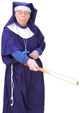 <div class='curved_float' style='background-color:white;padding:10px;width:212px'><div class='paragraph_black' style='font-size:16px;font-weight: bold'>Very Irish Nun!</div><div class='paragraph_black' style='font-size:11px'>�is an older man dressed as a strict female nun.  She reminisces about the children she used to teach while holding a yardstick in case any one gets out of line.  She makes jokes about being married, customizes the Happy Birthday song with personal info, and gives the recipient a holy memento.</div></div>